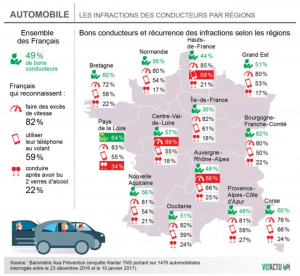 carte région comportements conducteurs