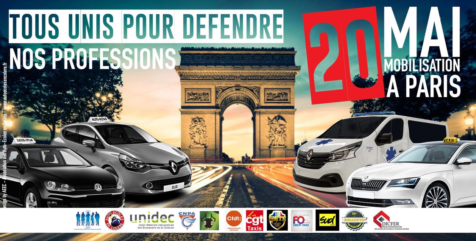 Les taxis, auto-écoles et ambulanciers manifestent ce lundi — Paris