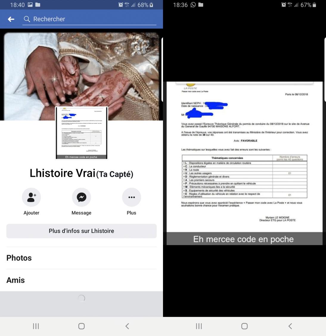 Fraude code de la route Facebook